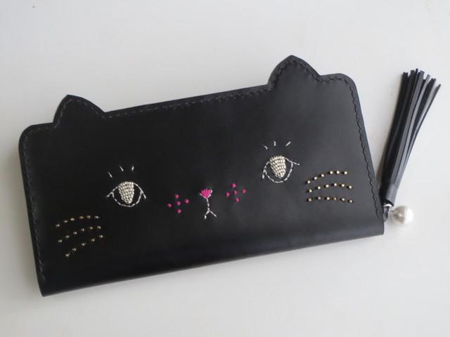 kitsch様専用 ねこのお顔ロングウォレット、iPhone7手帳型ケース 黒猫・ハチワレ猫