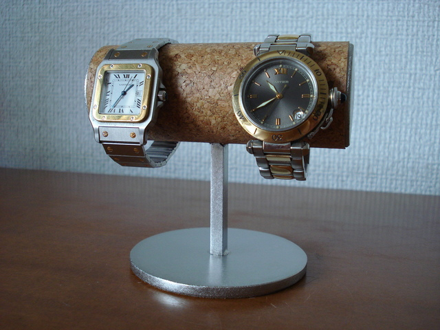 クリスマスプレゼントに! パイプ太めのシンプル2本掛け腕時計スタンド ak-design