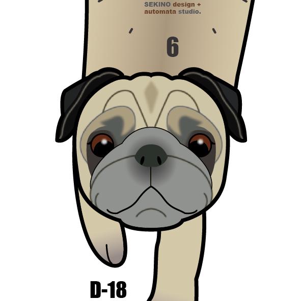 D-18 パグ-犬の振子時計
