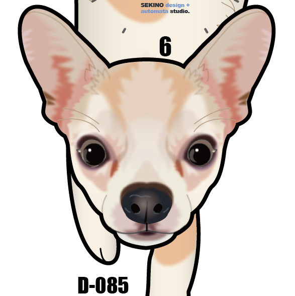 D-85 チワワ(白)-犬の振り子時計