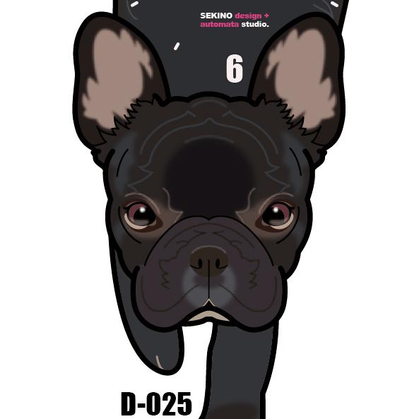 D-25 フレンチブル黒-犬の振子時計