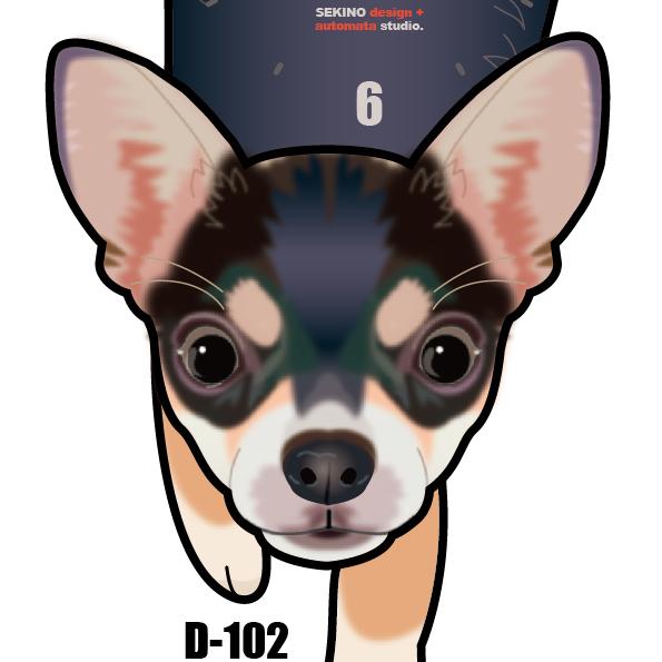 D-102 チワワ白黒(短毛)-犬の振り子時計