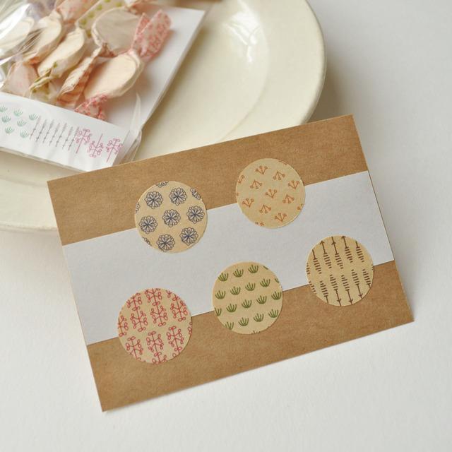 シール50枚入り(5柄×10)Textile seal...