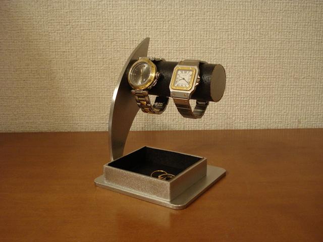 ブラック2本掛けトレイ腕時計スタンド 大きな角トレイ ak-design