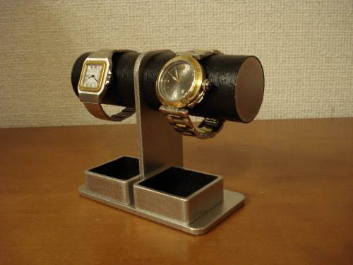 クリスマスプレゼントに!コンパクト2本掛け丸パイプダブルトレイ腕時計スタンド ak-design