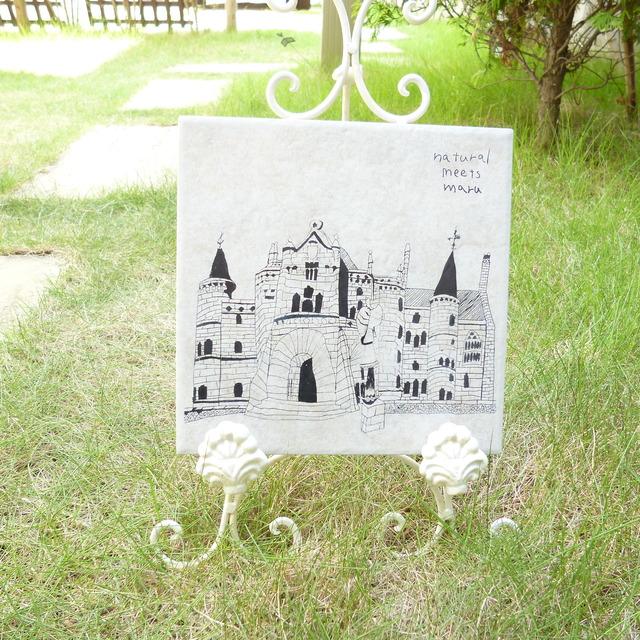 タイル彫刻 お城 オフホワイト Mサイズ
