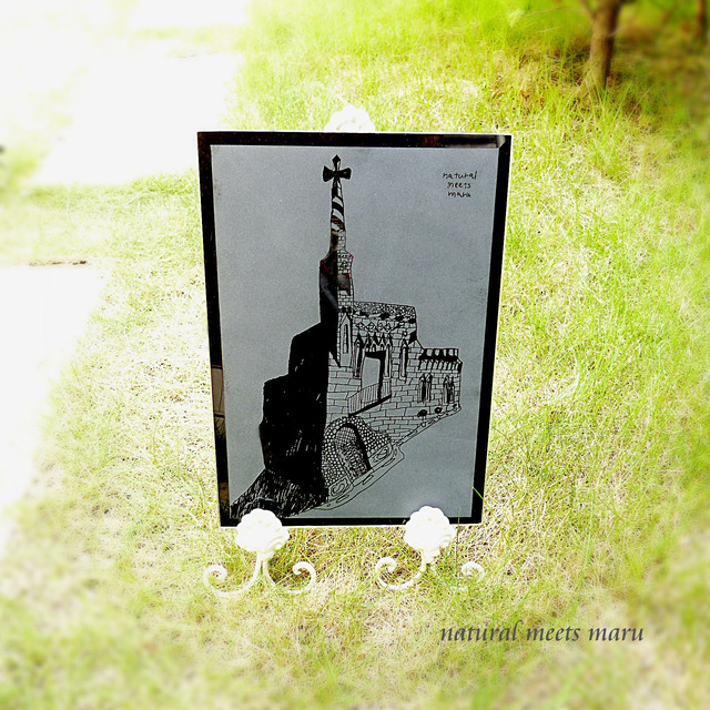 ガラス彫刻 坂の上の教会 ブラック A4サイズ