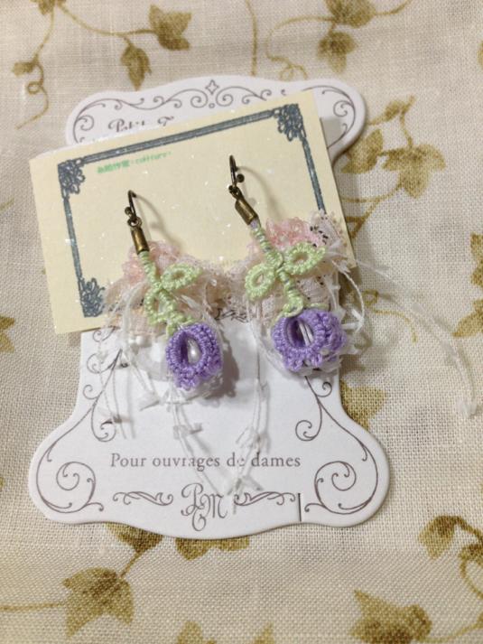 *タティングレースのピアス*薄紫の釣鐘草