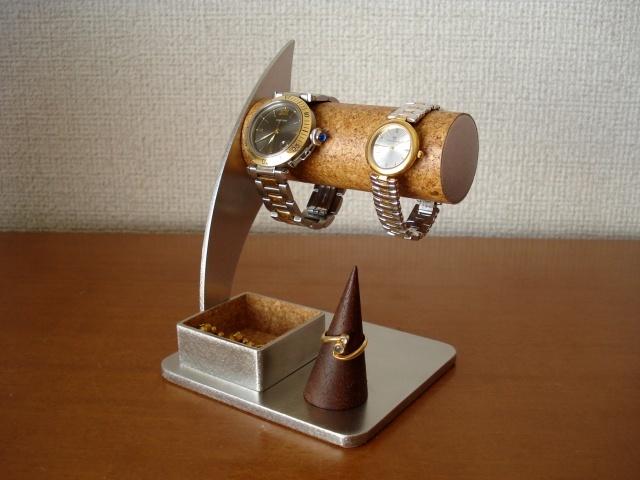 リングスタンド、トレイ付き丸パイプ2本掛け腕時計スタンド ak-design