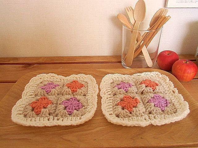 毛糸のコースター 果物