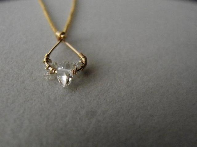 k14gf ハーキマー ダイヤモンド ネックレス(結晶 しずく)