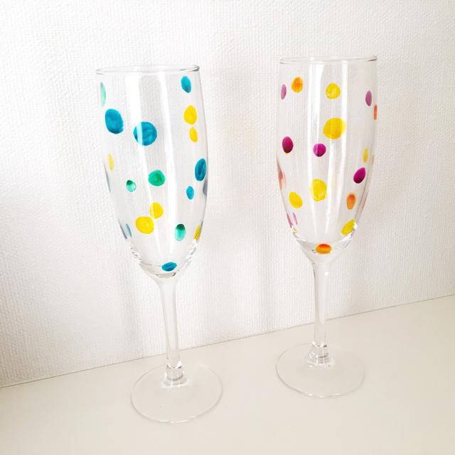 【名入れ無料】水玉ガラスのシャンパン...
