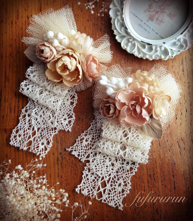 専用出品*布花とチュールのコサージュ