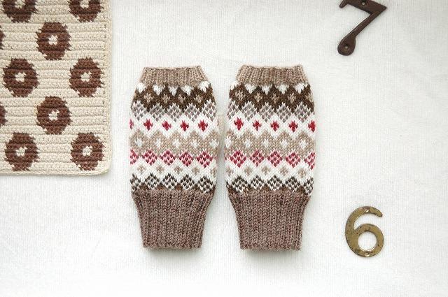 手編みの指なしミトン  【Cioccolata チョコラータ】
