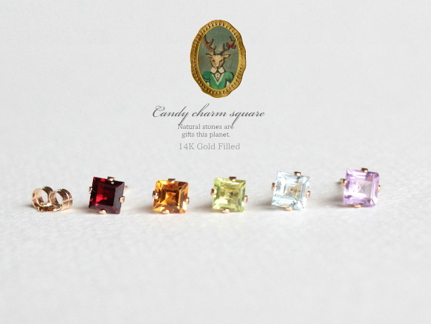 Candy charm square 14KGFピアス
