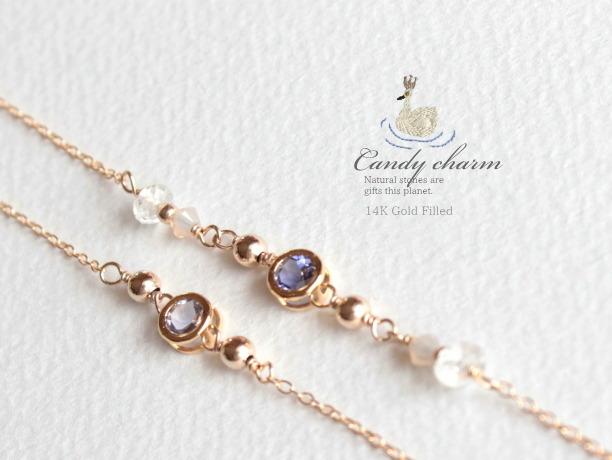 Candy charm Bracelet 14KGF アイオライトA