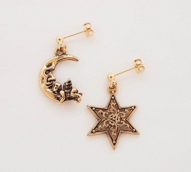 月と天使と星ピアス