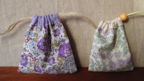 リバティパープル系ミニ巾着セット/Capel