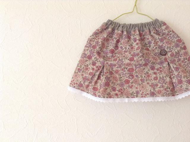 YUWAボックスプリーツのスカート(ピンク) 90