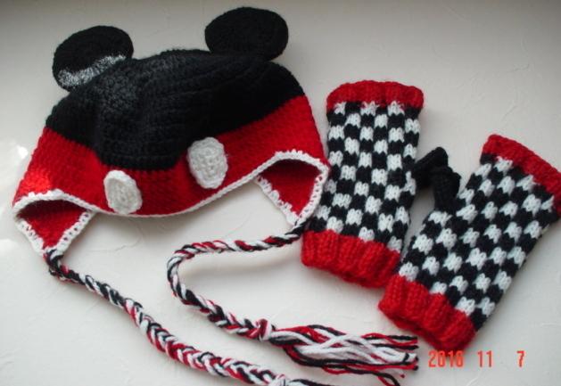 ☆彡キッズニット帽子&キッズ指なしミトンのセット