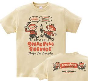 【再販】スパークプラグとBoy & Girl★アメリカンレトロ【両面】 WM〜WL?S〜XL Tシャツ【受注生産品】