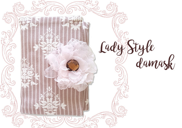Lady Style damask ボーダー柄 ポケッ...