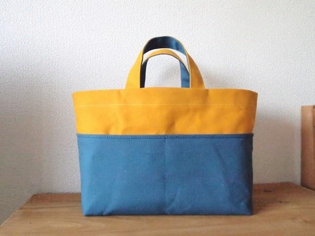 「bicolor tote S 」 yellow×blue gray