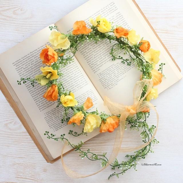 スイトピーとラナンキュラスの花冠*バックガーランド付ビタミンカラー