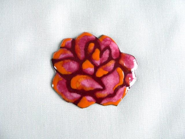 七宝焼・三色のバラ・オレンジ