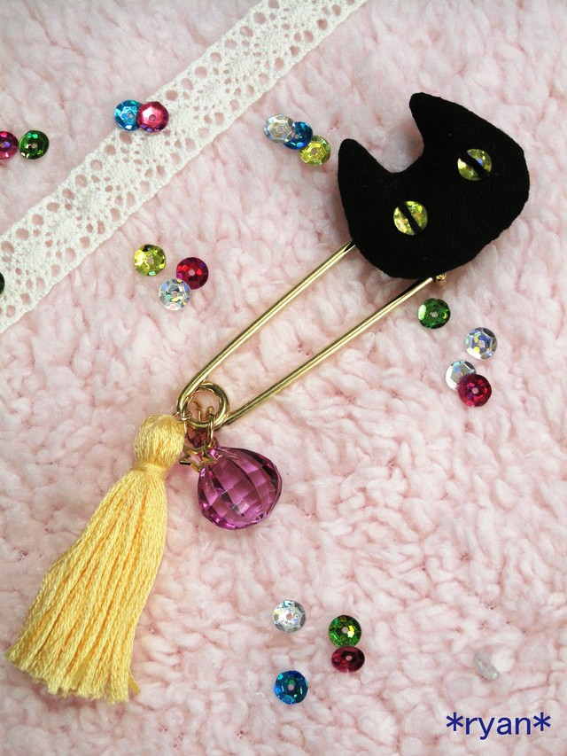 黒猫ストールピン