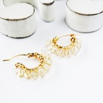 14kgf♡AAA champagne color quartz wrapped earring/pierce