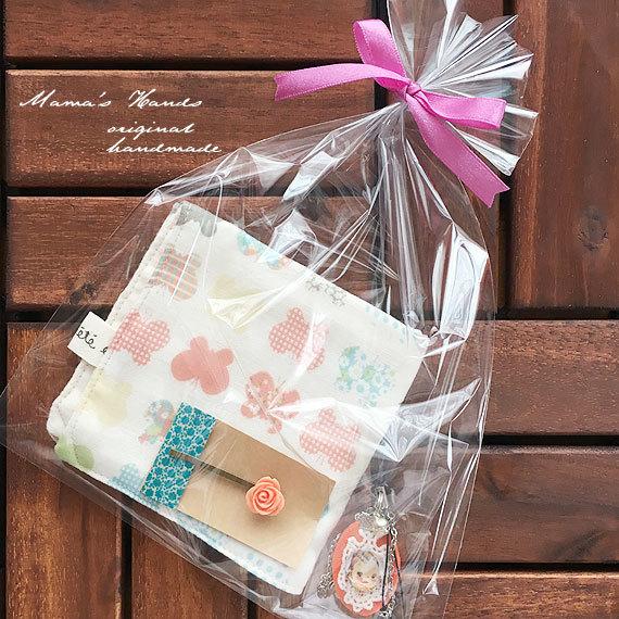 ★SALE★ 蝶々 ピンク系 ハンカチ ヘアピン キーホルダー セット