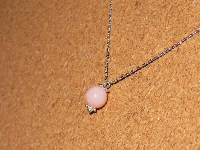 SV925チェーン 一粒ネックレス ピンクオパール