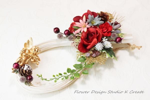 SALE:赤い薔薇と天使のクリスマスリース