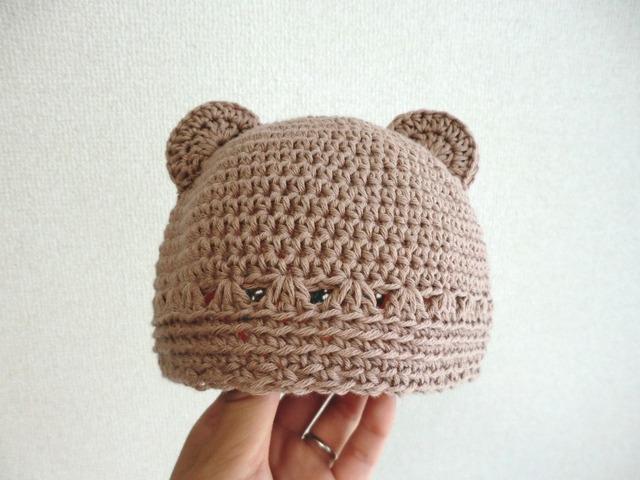 オーガニックコットンのくま耳帽子 40cm