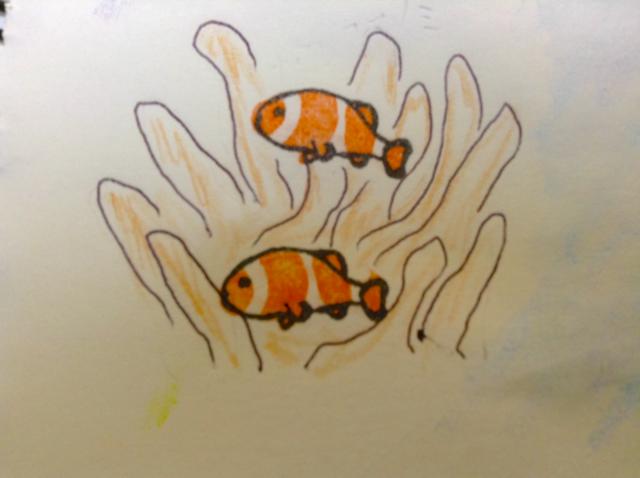 消しゴムはんこの熱帯魚 カクレクマノミ
