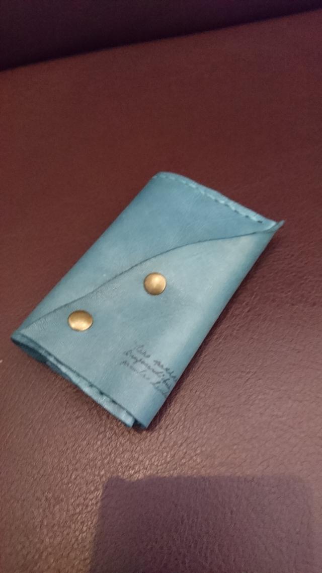 本革ファイルカードケース10ポケット ブルーグリーン
