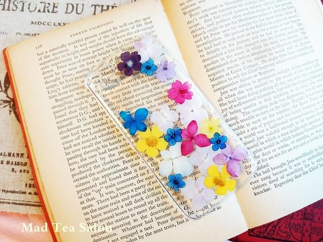 アップルマークと紫陽花の爽やかカラーiphone5.5sカバー