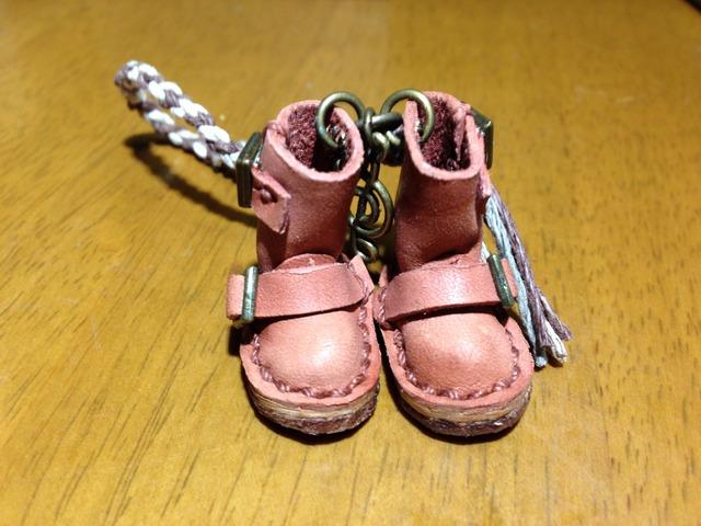 ハンドメイド◎ミニチュア エンジニア ブーツ 四つ編み ストラップ ヌメ革 レザー 17