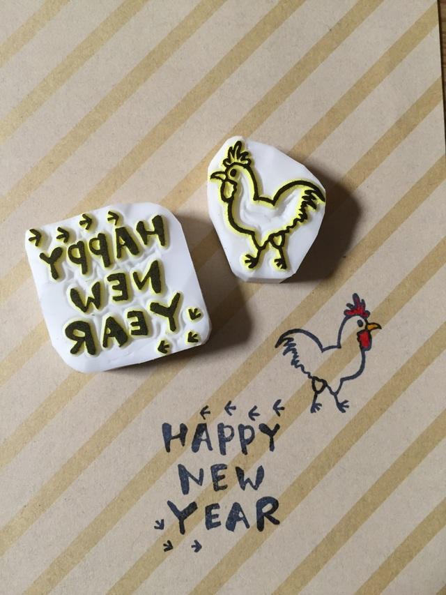 消しゴムはんこ  酉年*happy new year