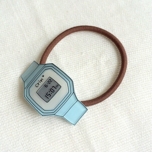 watch hair accessory/digital light blue