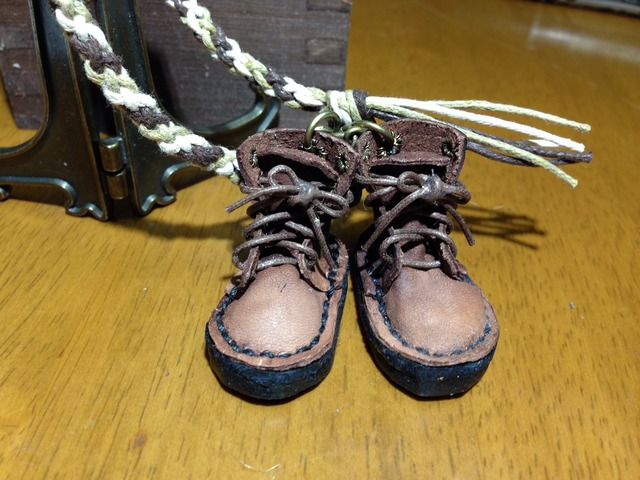 ハンドメイド◎ミニチュア ヌメ革 編み上げブーツ むつ編み ストラップ 革 レザー ブラウン 18