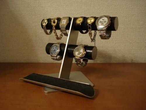バレンタインデーに!ブラック丸パイプ6〜8本掛け腕時計スタンドロングトレイバージョン ak-design
