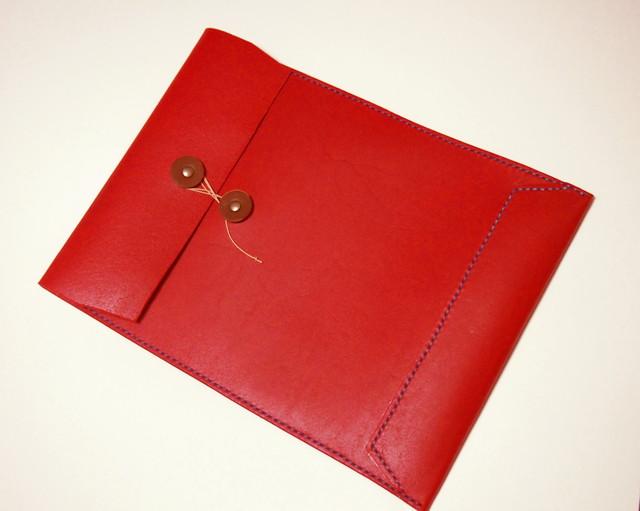 トスカーナ床革のマニラ封筒 A4ファイル対応 水色糸