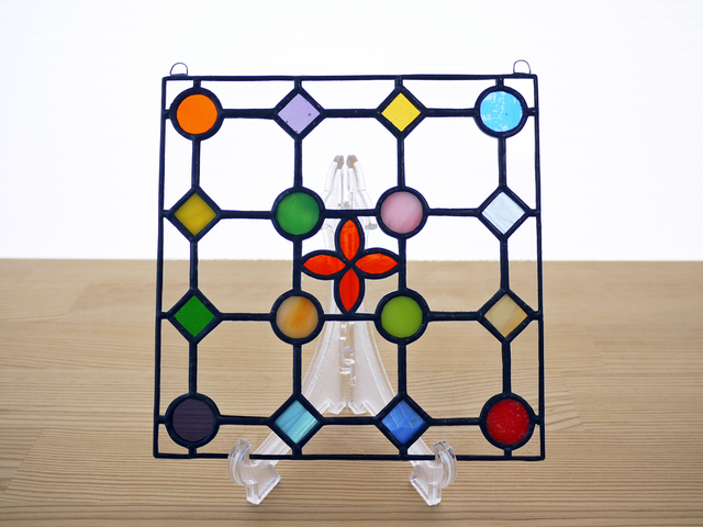 ステンドグラス ミニパネル ドットA赤 15cm