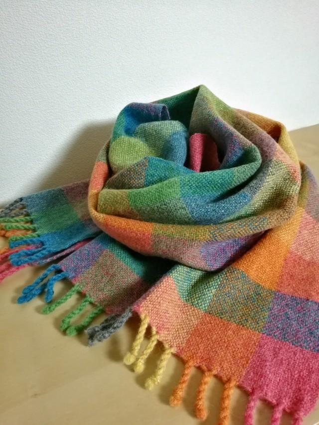 手織り布のマフラー カラフル6色