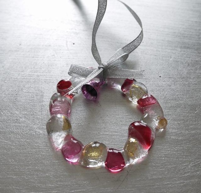 ガラスのミニリース(ピンク)