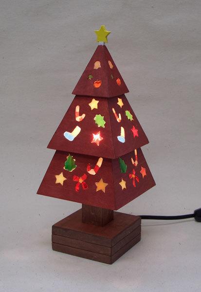 木とガラスのクリスマスツリー(赤)