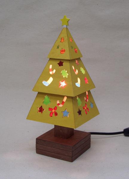 木とガラスのクリスマスツリー(黄)