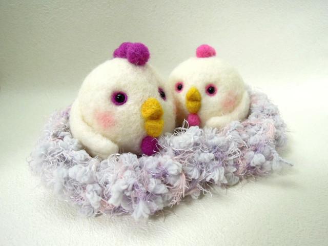 羊毛フェルト まん丸ニワトリ